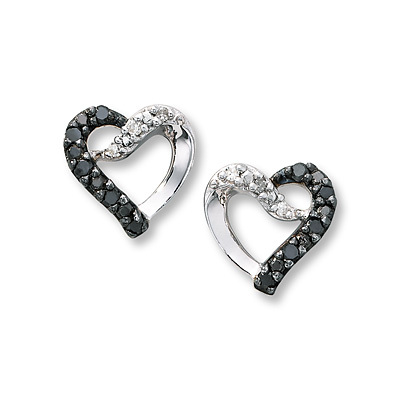 Kay Jewelers Black Diamond Earrings  1/10 ct tw Round-Cut Sterling Silver- More