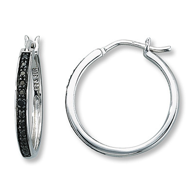photo of Kay Jewelers Black Diamond Earrings Sterling Silver- Hoops