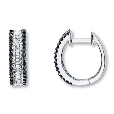 photo of Kay Jewelers Black Diamond Earrings 1/2 ct tw Round-Cut 10K White Gold- Hoops