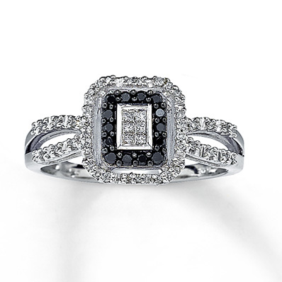 Kay Jewelers Black Diamond Ring Princess-Cut  10K White Gold- Fashion Rings