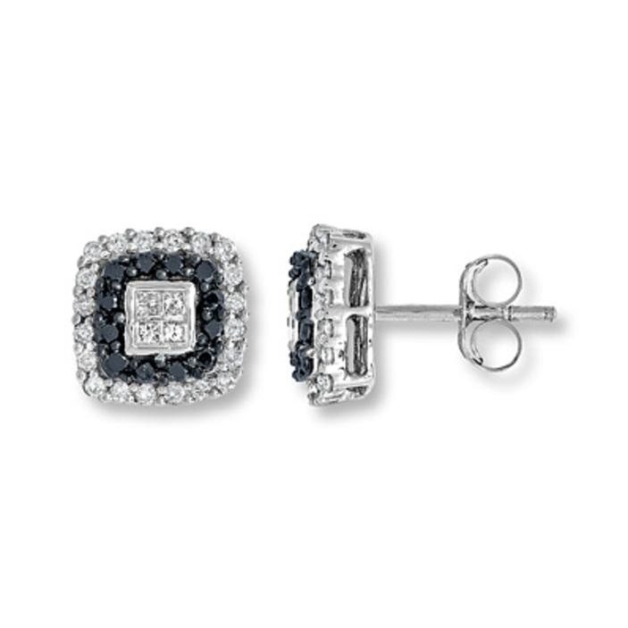 Kay Jewelers Black Diamond Earrings 1 4 ct tw Round cut Sterling