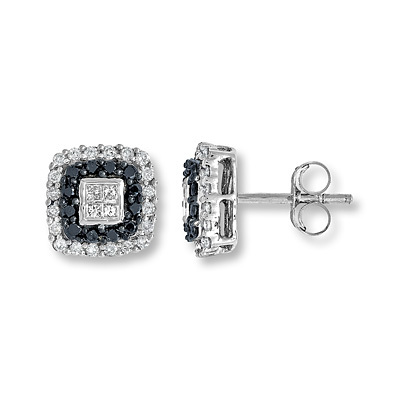 Kay Jewelers Black Diamond Earrings 1/2 ct tw 10K White Gold- More