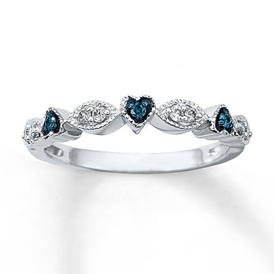 Kay Jewelers Blue & White Diamond Ring 1/8 ct tw Round-Cut Sterling Silver- Ladies' Diamond Fashion