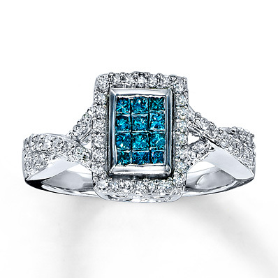 photo of Kay Jewelers Blue Diamond Ring 1/2 ct tw Princess-cut 10K White Gold- Ladies' Diamond Fashion