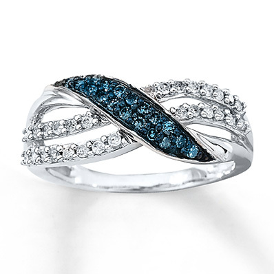 Kay Jewelers Blue & White Diamond Ring 1/3 ct tw Round-cut 10K White Gold- Ladies' Diamond Fashion
