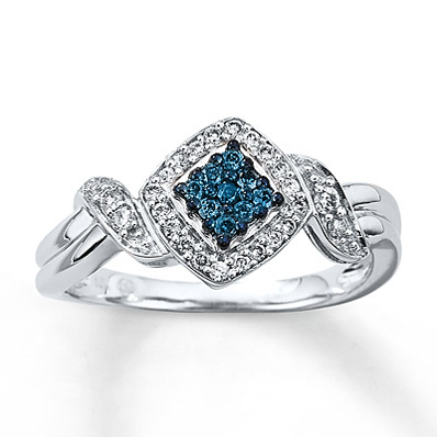 Kay Jewelers Blue & White Diamond Ring 1/4 ct tw Round-cut 10K White Gold- Ladies' Diamond Fashion