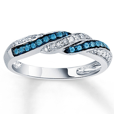 Kay Jewelers Blue & White Diamond Ring 1/4 ct tw Round-Cut Sterling Silver- Ladies' Diamond Fashion