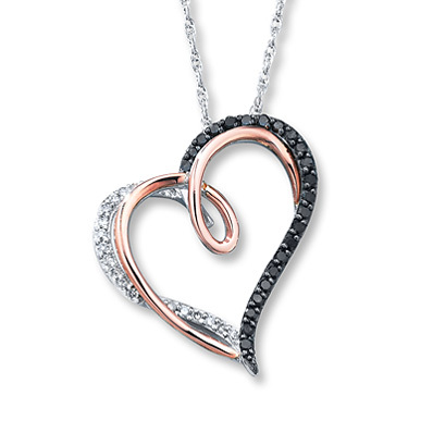 photo of Kay Jewelers Diamond Necklace 1/4 ct tw Round-cut Sterling Silver/10K Gold- Hearts