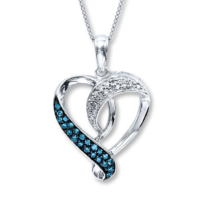 Kay Jewelers Blue Diamond Necklace 1/5 ct tw Round-Cut Sterling Silver- Hearts