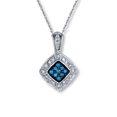 Kay Jewelers Blue Diamond Necklace 1/4 ct tw Round-Cut 10K White Gold- More