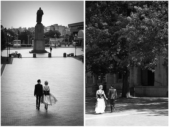 Black and White ariel shots of bride and groom walking outside together