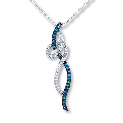 photo of Kay Jewelers Blue Diamond Necklace 1/3 ct tw Round-Cut 10K White Gold- More