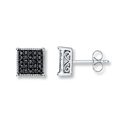 Kay Jewelers Black Diamond Earrings 1/4 ct tw Round-Cut Sterling Silver- More Diamond Earrings