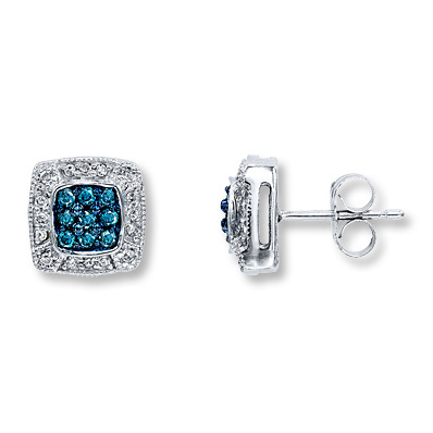 Kay Jewelers Blue Diamond Earrings 1 3 Ct Tw Round Cut 10k White Gold More