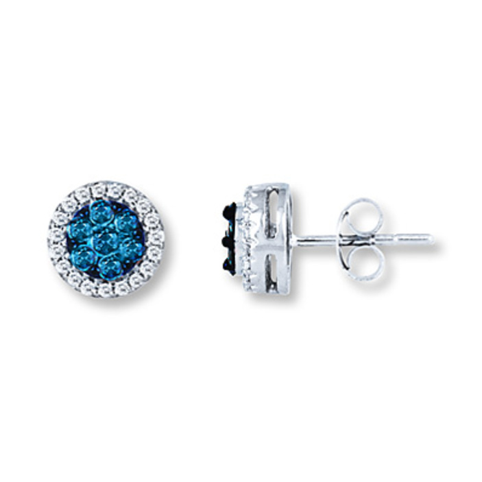 Kay Jewelers Diamond Hoop Earrings 1 8 ct tw Blue Diamonds