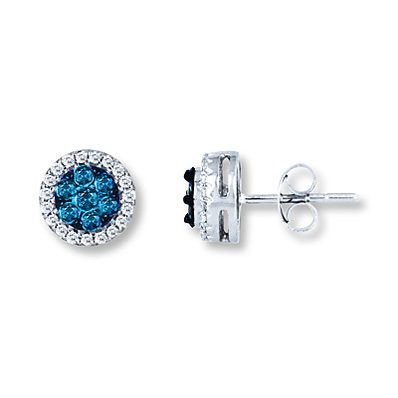 Kay Jewelers Blue Diamond Earrings 1/2 ct tw Round-Cut 10K White Gold- More