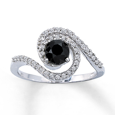 Kay Jewelers Black Diamond Ring 1 ct tw Round-cut  10K White Gold- Ladies' Diamond Fashion