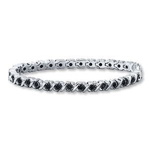 photo of Kay Jewelers Black Diamond Bracelet 1 ct tw Round-cut Sterling Silver- Bracelets