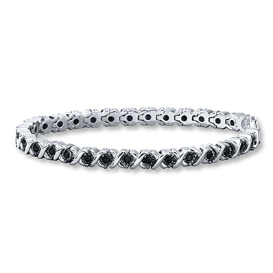 Kay Jewelers Black Diamond Bracelet 1 ct tw Round-cut Sterling Silver- Bracelets