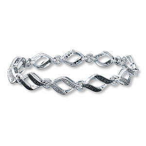 photo of Kay Jewelers Black Diamond Bracelet 1/4 ct tw Round-cut Sterling Silver- Bracelets
