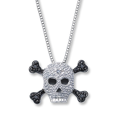 photo of Kay Jewelers Diamond Skull Necklace 1/20 ct tw Round-cut Sterling Silver- More