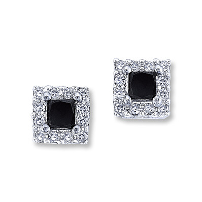 Kay Jewelers Black Diamond Earrings 1/2 ct tw Princess-Cut  10K White Gold- More