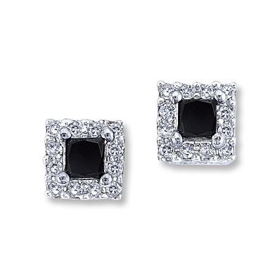 photo of Kay Jewelers Black Diamond Earrings 1/2 ct tw Princess-Cut  10K White Gold- More