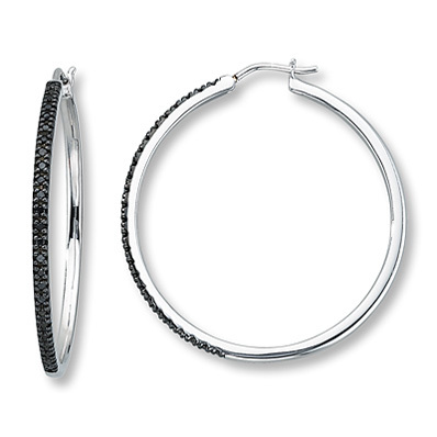 photo of Kay Jewelers Black Diamond Earrings  1/4 ct tw Round-cut Sterling Silver- Hoops
