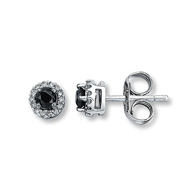 Kay Jewelers Black Diamond Earrings 1/4 ct tw Round-Cut  10K White Gold- More