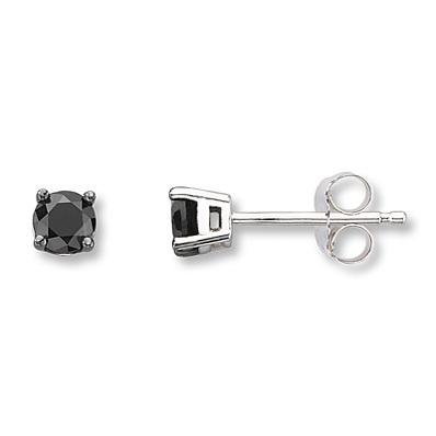 photo of Kay Jewelers Black Diamond Earrings 1/4 ct tw Round-cut 10K White Gold- Diamond