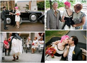 photo of Rock 'n Roll Bride: Pink Hair and Her Mother's Wedding Dress