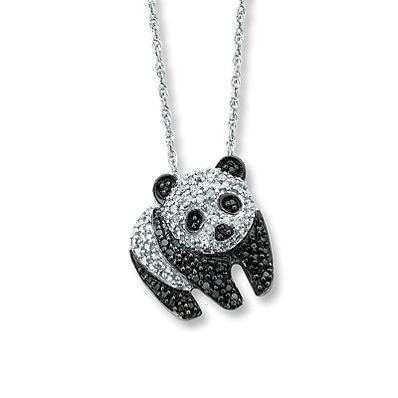 Kay Jewelers Diamond Panda Necklace  1/4 ct tw Round-cut Sterling Silver- More