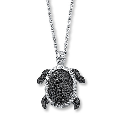 Kay Jewelers Diamond Turtle Necklace  1/4 ct tw Round-cut Sterling Silver- More