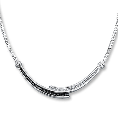 Kay Jewelers Black Diamond Necklace  1/4 ct tw Round-cut Sterling Silver- More