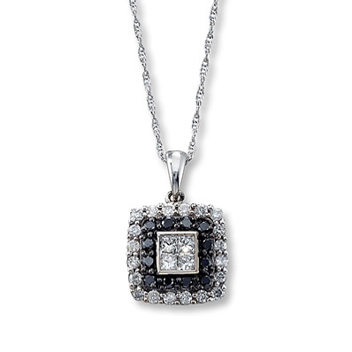 Kay Jewelers Black & White Diamonds 1/2 ct tw Necklace  10K White Gold- More