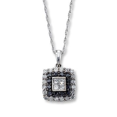 photo of Kay Jewelers Black & White Diamonds 1/2 ct tw Necklace  10K White Gold- More