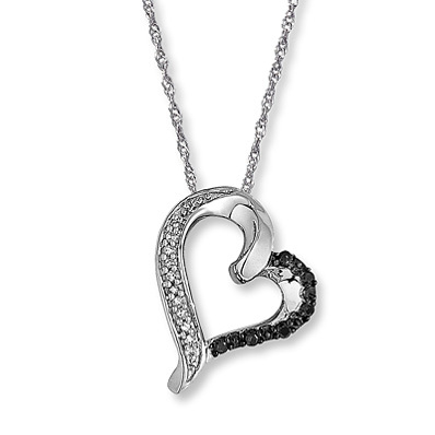 Kay Jewelers Black & White Diamonds 1/15 ct tw Heart Necklace 10K Gold- Hearts