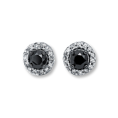 Kay Jewelers Black Diamond Earrings  1/2 ct tw Round-Cut  10K White Gold- More