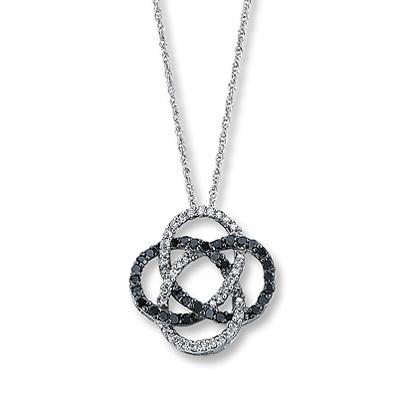 photo of Kay Jewelers Black Diamond Necklace 1/3 ct tw Round-cut 10K White Gold- More