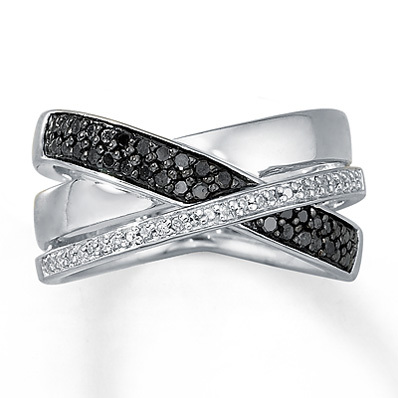 photo of Kay Jewelers Black/White Diamond Ring 1/4 ct tw Round-cut Sterling Silver- Ladies' Diamond Fashion