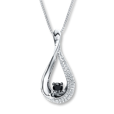 Kay Jewelers Black Diamond Necklace 1/3 ct tw Round-cut Sterling Silver- More