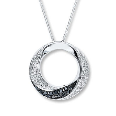 photo of Kay Jewelers Black Diamond Necklace 1/4 ct tw Round-cut Sterling Silver- More