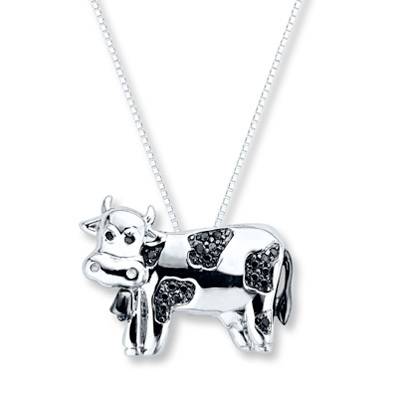Kay Jewelers Diamond Cow Necklace 1/10 ct tw Black Diamonds Sterling Silver- More