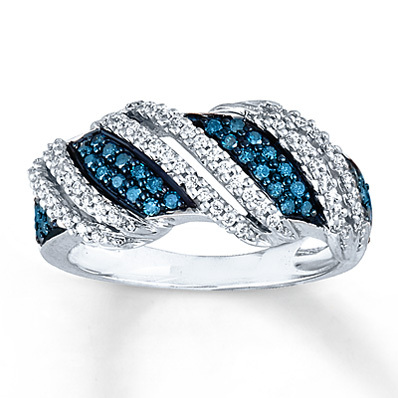 Kay Jewelers Blue & White Diamond Ring 1/2 ct tw Round-Cut 10K White Gold- Ladies' Diamond Fashion