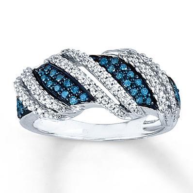 photo of Kay Jewelers Blue & White Diamond Ring 1/2 ct tw Round-Cut 10K White Gold- Ladies' Diamond Fashion