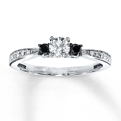 Kay Jewelers Diamond Engagement Ring 3/8 ct tw Round-Cut 10K White Gold- Bridal