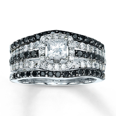 Kay Jewelers Diamond Bridal Set 1 1/4 ct tw Princess-cut 14K White Gold- Bridal