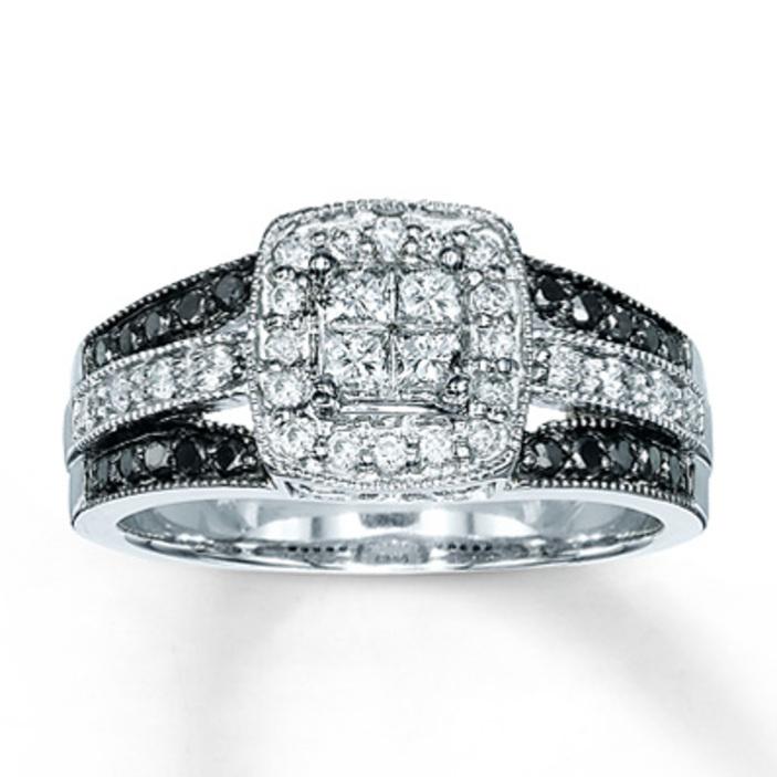 kay jewelers bluewhite diamond ring 13 carat tw 10k white gold engagement rings - Wedding Rings Kay Jewelers