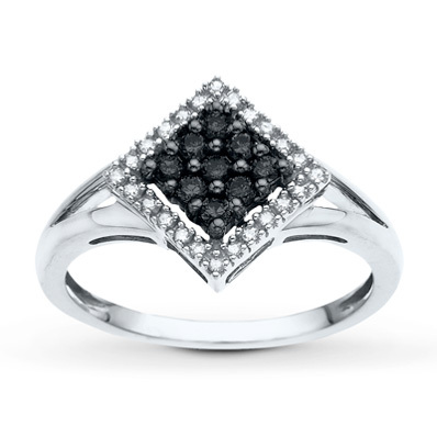 Kay Jewelers Black&White Diamond Ring 1/4 ct tw Round-cut 14K White Gold- Ladies' Diamond Fashion
