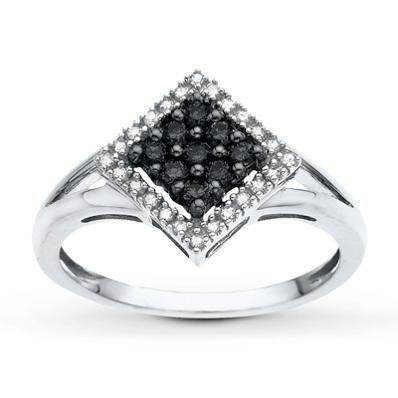 photo of Kay Jewelers Black&White Diamond Ring 1/4 ct tw Round-cut 14K White Gold- Ladies' Diamond Fashion